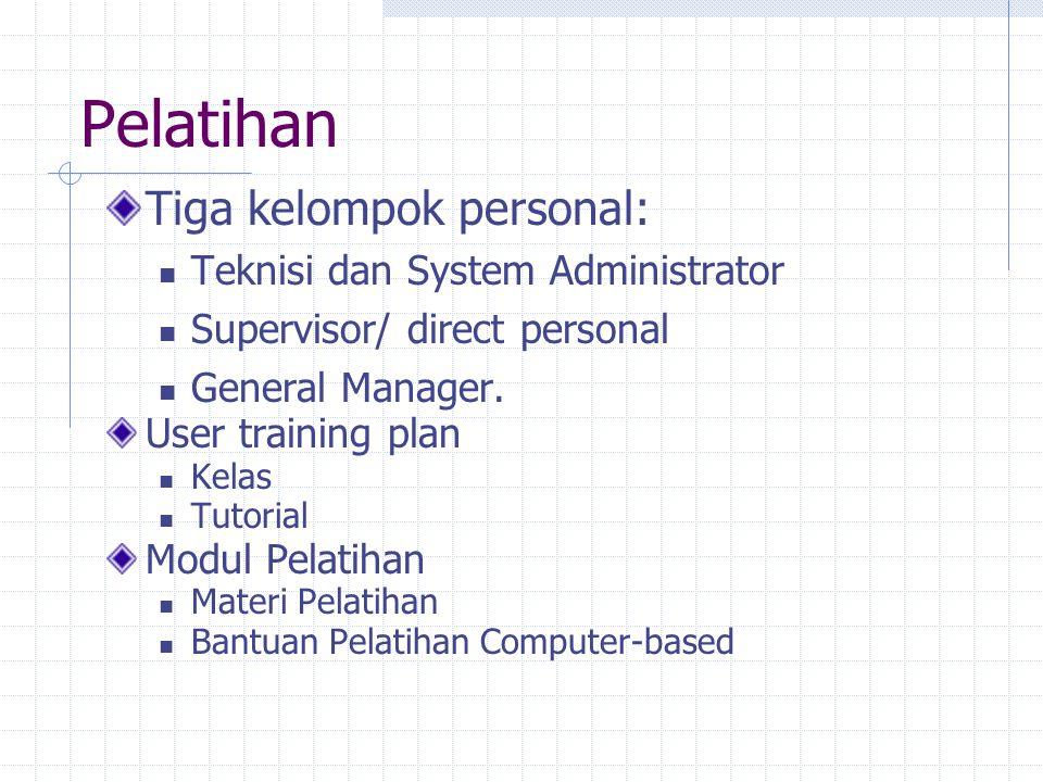 Pelatihan Tiga kelompok personal: Teknisi dan System Administrator Supervisor/ direct personal General Manager. User training plan Kelas Tutorial Modu
