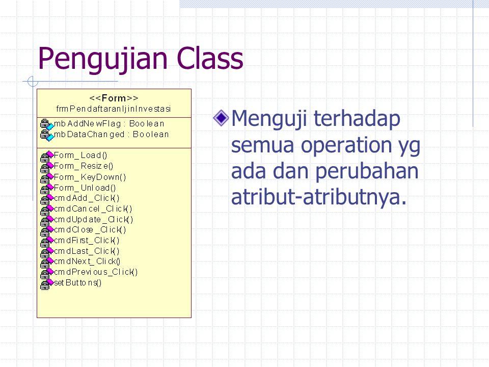 Pengujian Class Menguji terhadap semua operation yg ada dan perubahan atribut-atributnya.