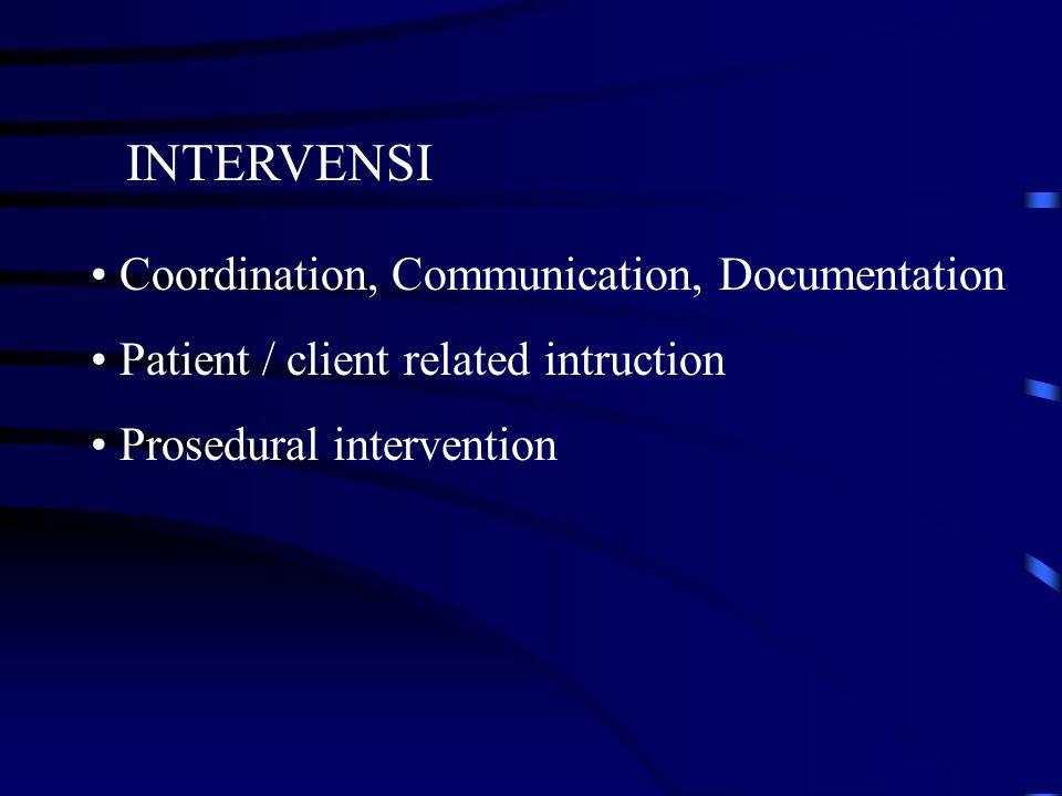 Planning procedure for intervention Berdasarkan hasil assesment ( pemeriksaan dan evaluasi ), serta diagnosa. Prognosis yang berhubungan peningkatan k