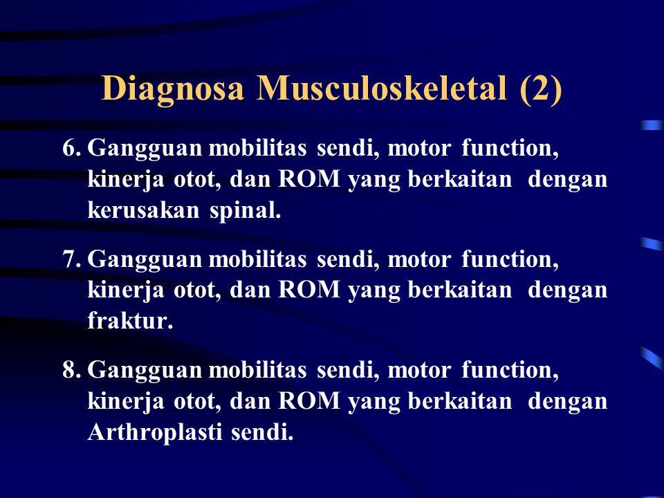 Diagnosa Musculoskeletal (1) 1.Berpotensi untuk terjadi gangguan kinerja system muskulo skeletal 2.Gangguan Sikap 3.Gangguan Kinerja otot 4.Gangguan m