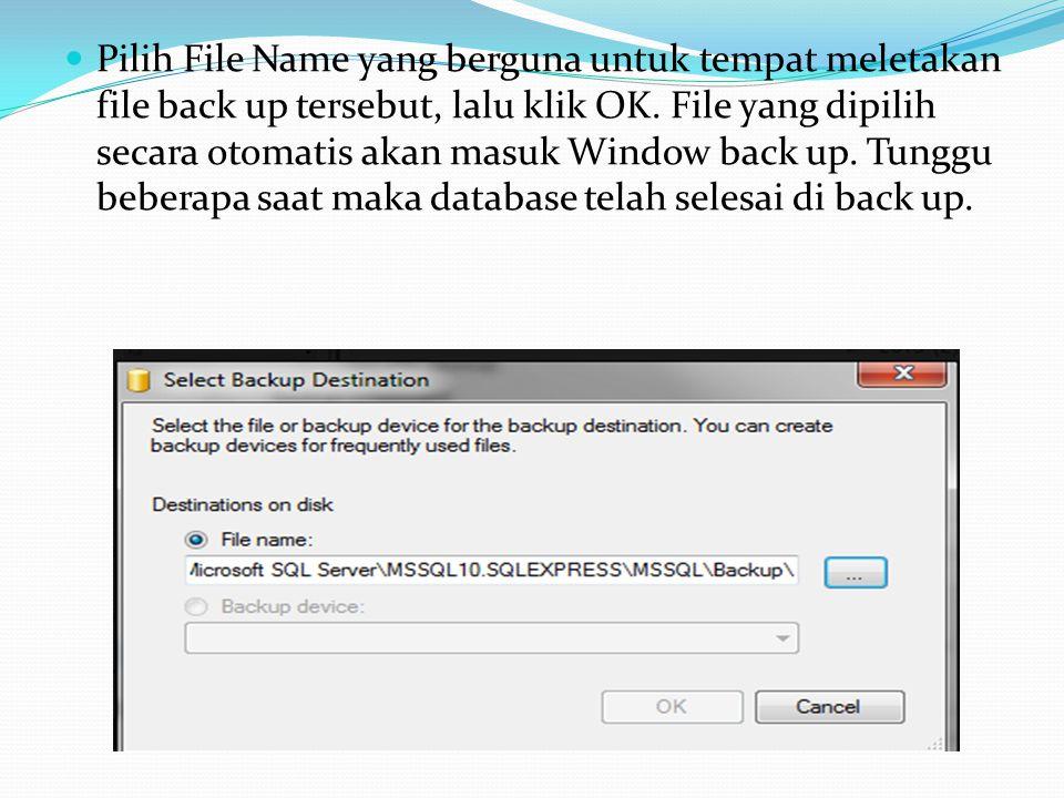 Pilih File Name yang berguna untuk tempat meletakan file back up tersebut, lalu klik OK. File yang dipilih secara otomatis akan masuk Window back up.