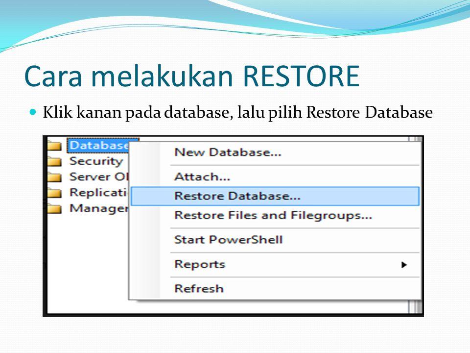 Ketik nama database pada pilihan To database, lalu pilih from database apabila data yang diambil berasal dari database pada sql atau pilih from device apabila database berasal dari komputer device