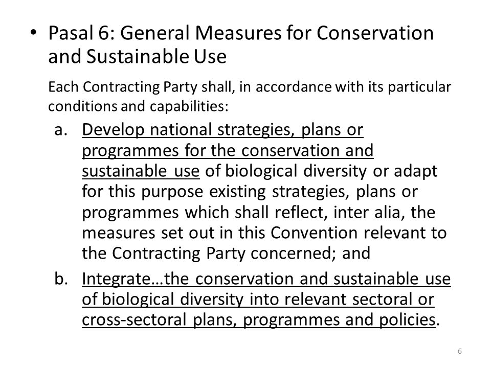 Pasal 8: Konservasi In-situ Each Contracting Party shall, as far as possible and as appropriate: a.Establish a system of protected areas or areas where special measures need to be taken to conserve biological diversity; b.Develop…guidelines for the selection, establishment and management of protected areas or areas where special measures need to be taken to conserve biological diversity; c.Regulate or manage biological resources important for the conservation of biological diversity whether within or outside protected areas, with a view to ensuring their conservation and sustainable use; d.Promote the protection of ecosystems, natural habitats and the maintenance of viable populations of species in natural surroundings; e.Promote environmentally sound and sustainable development in areas adjacent to protected areas with a view to furthering protection of these areas; 7