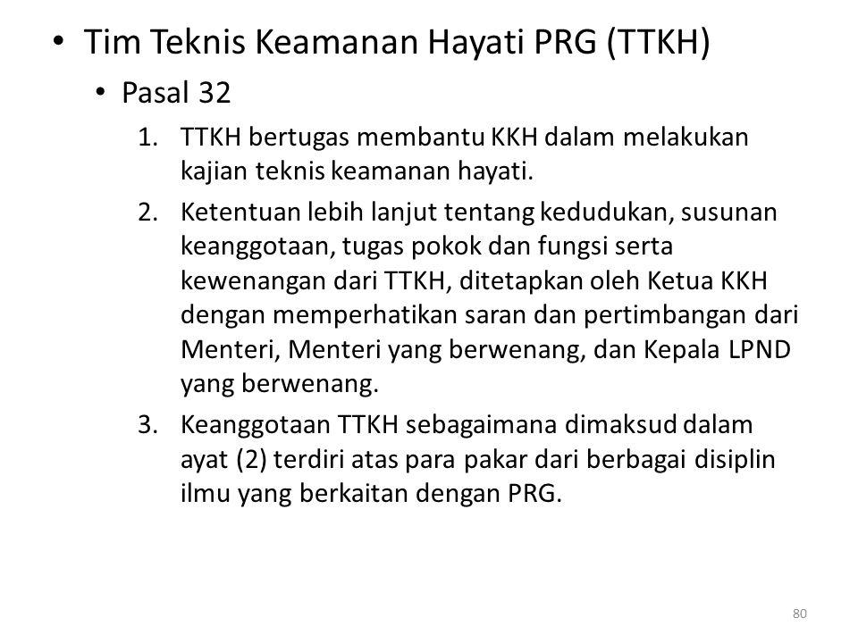 Tim Teknis Keamanan Hayati PRG (TTKH) Pasal 32 1.TTKH bertugas membantu KKH dalam melakukan kajian teknis keamanan hayati.