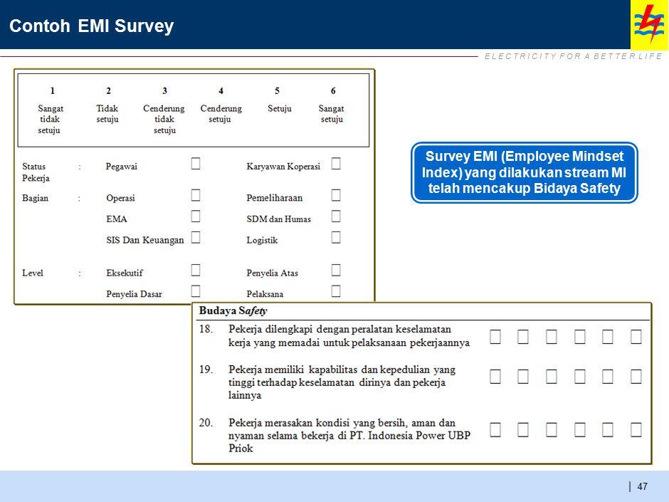 E L E C T R I C I T Y F O R A B E T T E R L I F E | Contoh EMI Survey 47 Survey EMI (Employee Mindset Index) yang dilakukan stream MI telah mencakup B