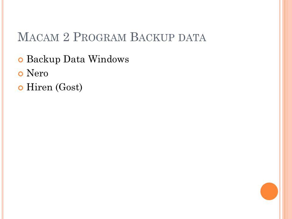 M ACAM 2 P ROGRAM B ACKUP DATA Backup Data Windows Nero Hiren (Gost)