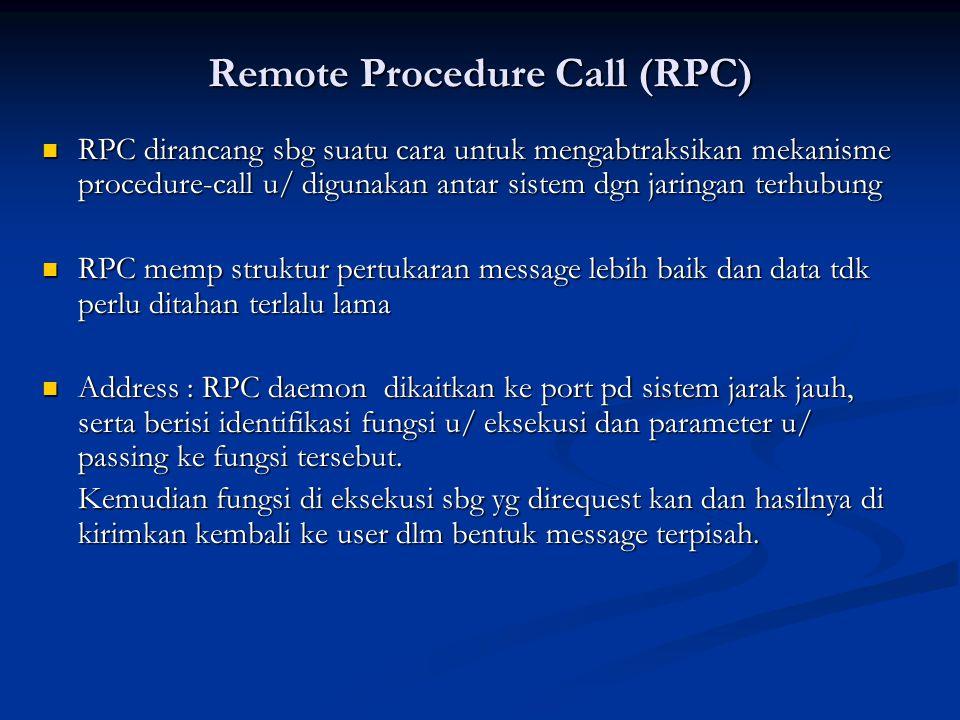 Remote Procedure Call (RPC) RPC dirancang sbg suatu cara untuk mengabtraksikan mekanisme procedure-call u/ digunakan antar sistem dgn jaringan terhubu