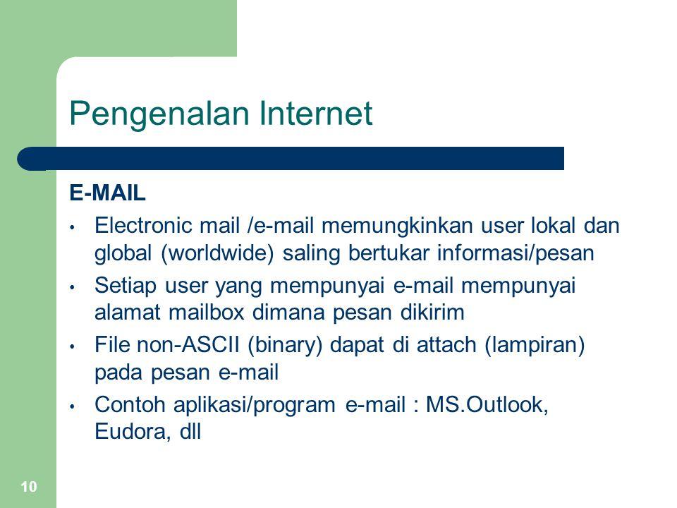 10 Pengenalan Internet E-MAIL Electronic mail /e-mail memungkinkan user lokal dan global (worldwide) saling bertukar informasi/pesan Setiap user yang