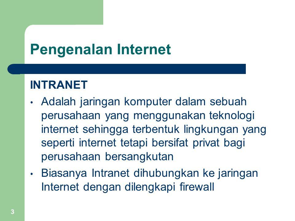 3 Pengenalan Internet INTRANET Adalah jaringan komputer dalam sebuah perusahaan yang menggunakan teknologi internet sehingga terbentuk lingkungan yang