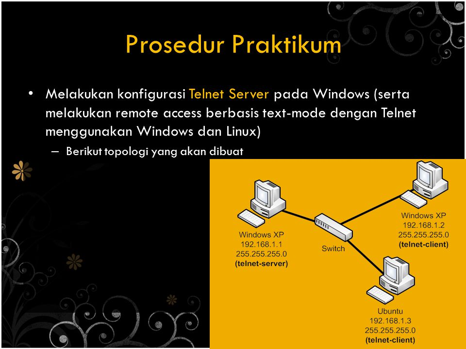 Prosedur Praktikum Melakukan konfigurasi RDC pada Windows (serta melakukan remote access berbasis GUI dengan RDC menggunakan Windows) – Berikut topologi yang akan dibuat