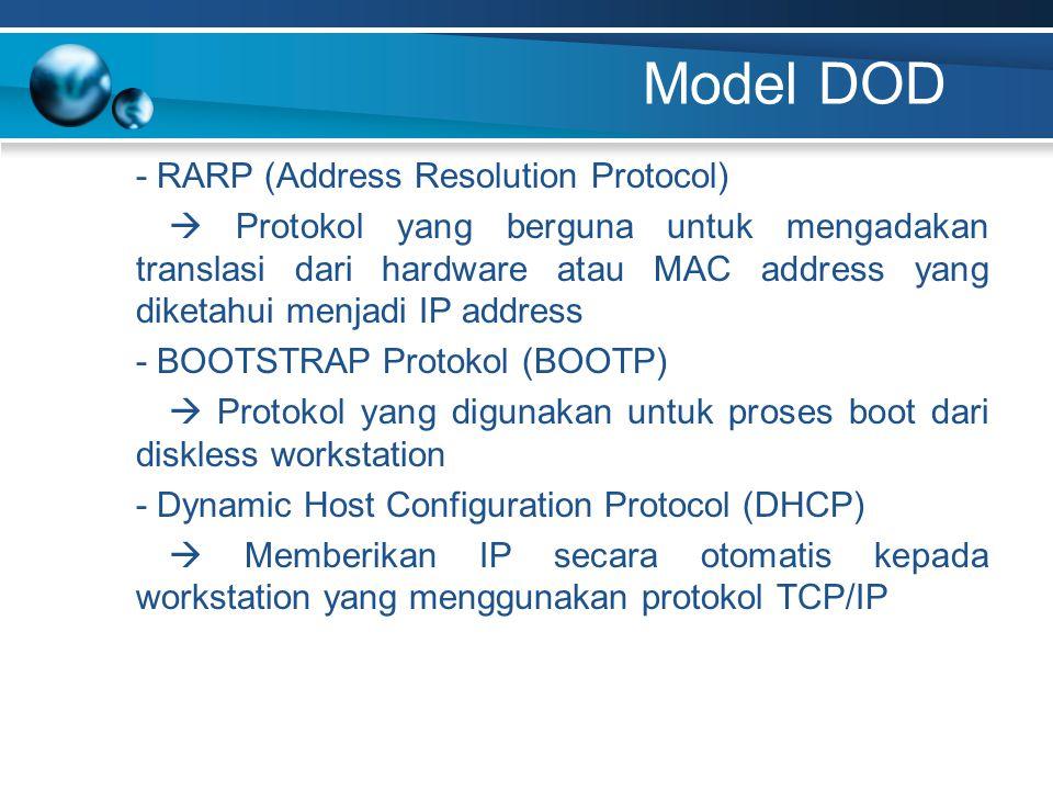 Model DOD - RARP (Address Resolution Protocol)  Protokol yang berguna untuk mengadakan translasi dari hardware atau MAC address yang diketahui menjadi IP address - BOOTSTRAP Protokol (BOOTP)  Protokol yang digunakan untuk proses boot dari diskless workstation - Dynamic Host Configuration Protocol (DHCP)  Memberikan IP secara otomatis kepada workstation yang menggunakan protokol TCP/IP