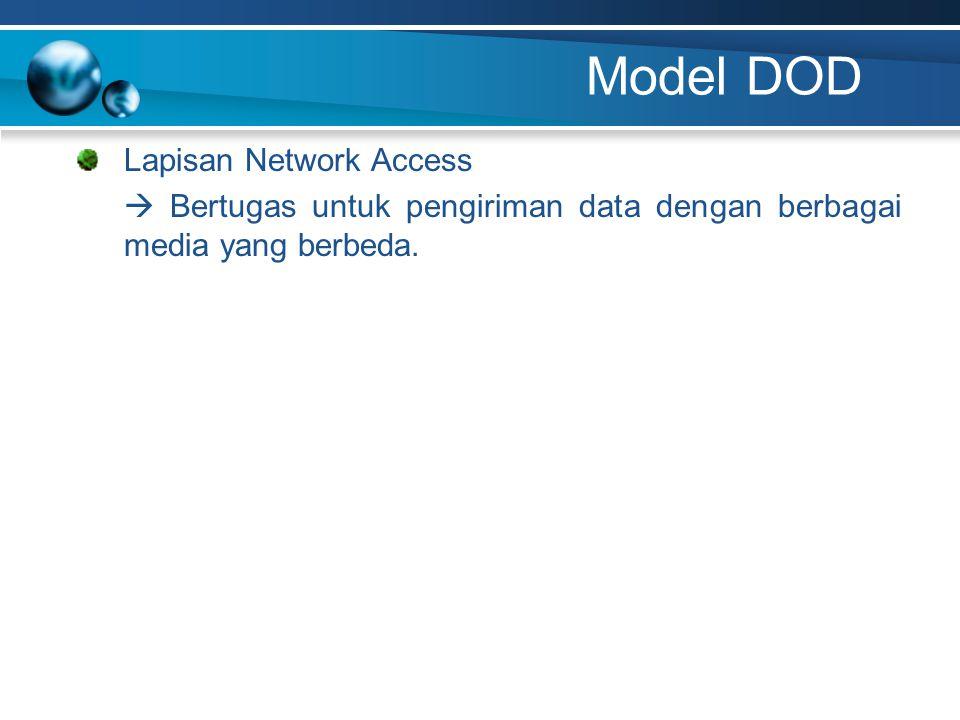 Model DOD Lapisan Network Access  Bertugas untuk pengiriman data dengan berbagai media yang berbeda.