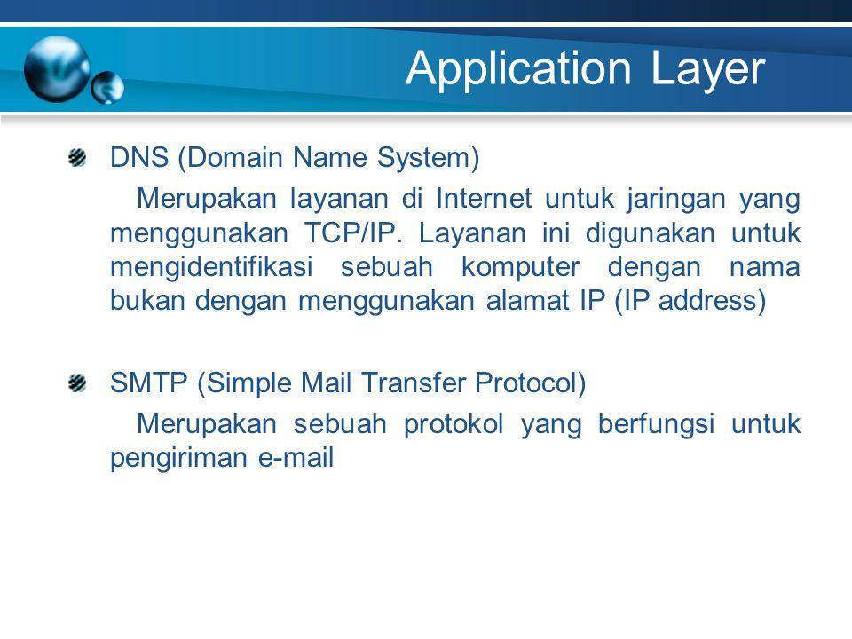 Application Layer DNS (Domain Name System) Merupakan layanan di Internet untuk jaringan yang menggunakan TCP/IP. Layanan ini digunakan untuk mengident