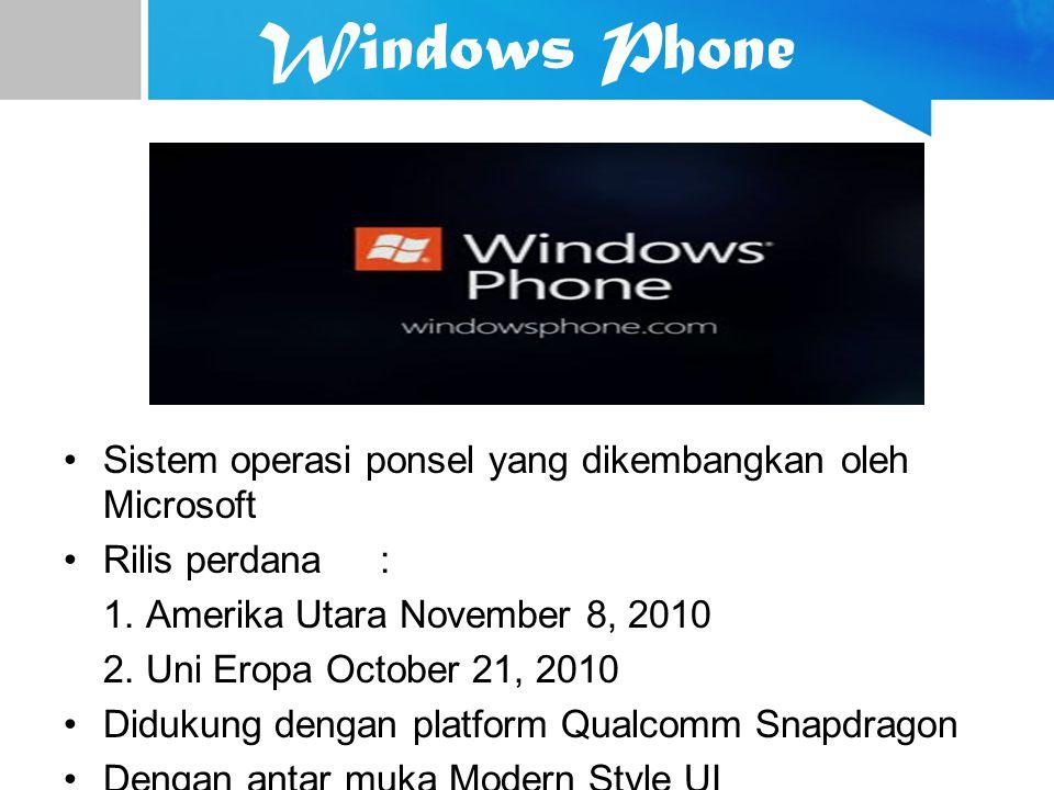 Windows Phone Sistem operasi ponsel yang dikembangkan oleh Microsoft Rilis perdana: 1. Amerika Utara November 8, 2010 2. Uni Eropa October 21, 2010 Di