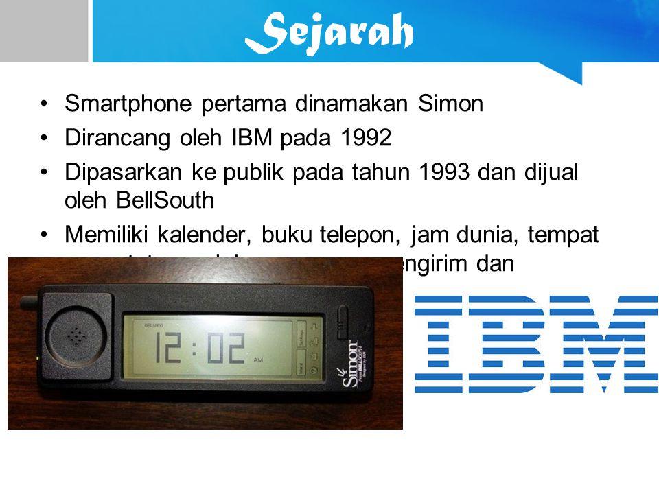 Sejarah Smartphone pertama dinamakan Simon Dirancang oleh IBM pada 1992 Dipasarkan ke publik pada tahun 1993 dan dijual oleh BellSouth Memiliki kalend