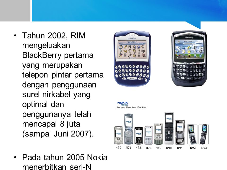 Tahun 2002, RIM mengeluakan BlackBerry pertama yang merupakan telepon pintar pertama dengan penggunaan surel nirkabel yang optimal dan penggunanya tel