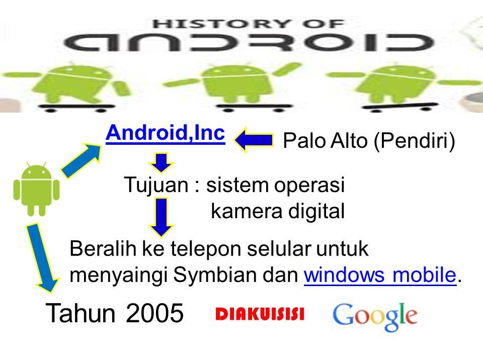 Android,Inc Palo Alto (Pendiri) Tujuan : sistem operasi kamera digital Beralih ke telepon selular untuk menyaingi Symbian dan windows mobile.windows mobile Tahun 2005 DIAKUISISI