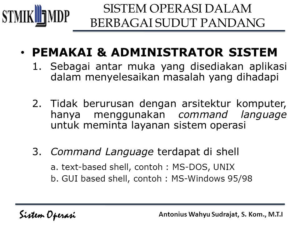 Sistem Operasi Antonius Wahyu Sudrajat, S. Kom., M.T.I SISTEM OPERASI DALAM BERBAGAI SUDUT PANDANG PEMAKAI & ADMINISTRATOR SISTEM 1.Sebagai antar muka