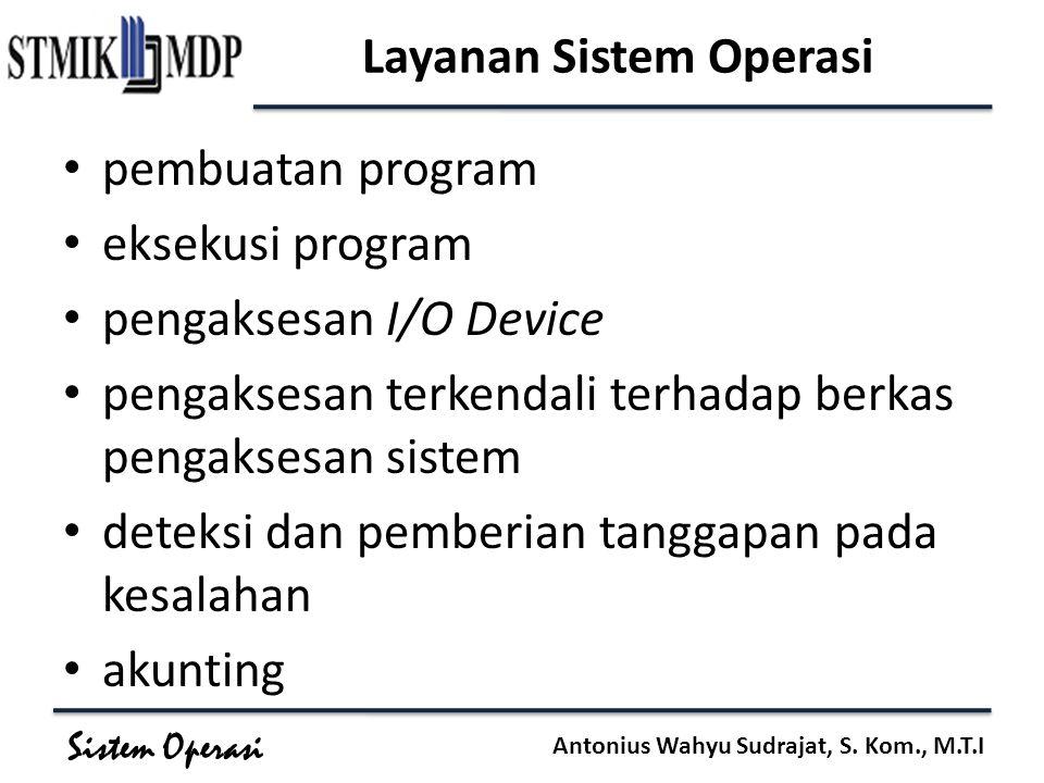 Sistem Operasi Antonius Wahyu Sudrajat, S. Kom., M.T.I Layanan Sistem Operasi pembuatan program eksekusi program pengaksesan I/O Device pengaksesan te