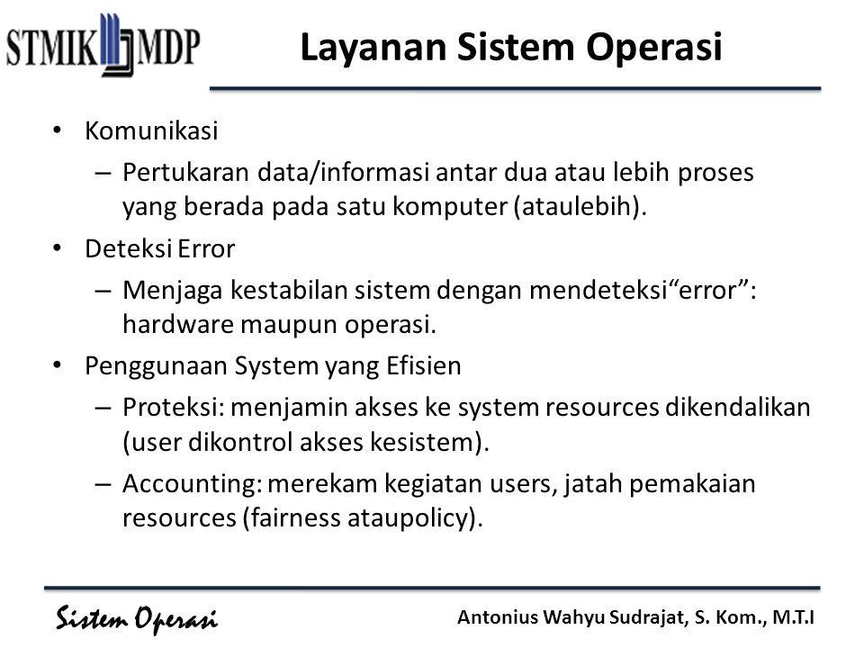 Sistem Operasi Antonius Wahyu Sudrajat, S. Kom., M.T.I Layanan Sistem Operasi Komunikasi – Pertukaran data/informasi antar dua atau lebih proses yang