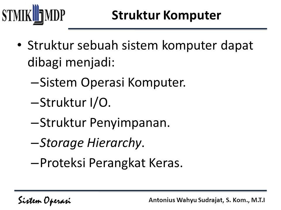 Sistem Operasi Antonius Wahyu Sudrajat, S. Kom., M.T.I Struktur Komputer Struktur sebuah sistem komputer dapat dibagi menjadi: – Sistem Operasi Komput