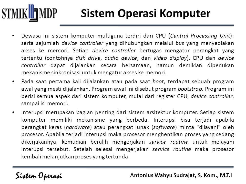 Sistem Operasi Antonius Wahyu Sudrajat, S. Kom., M.T.I Sistem Operasi Komputer Dewasa ini sistem komputer multiguna terdiri dari CPU (Central Processi