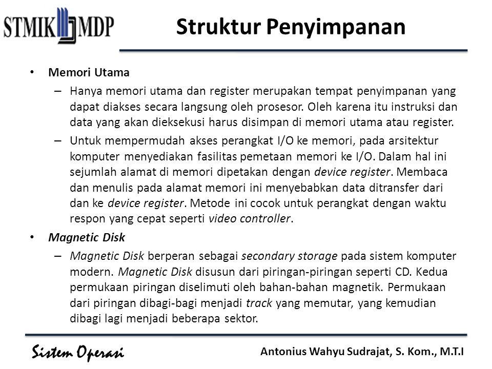 Sistem Operasi Antonius Wahyu Sudrajat, S. Kom., M.T.I Struktur Penyimpanan Memori Utama – Hanya memori utama dan register merupakan tempat penyimpana