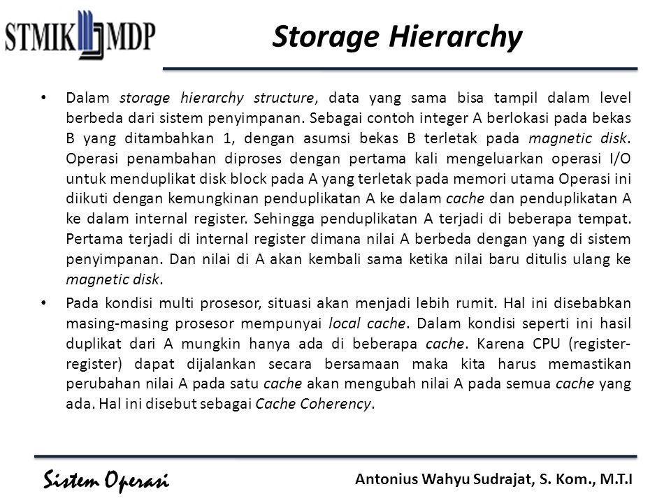 Sistem Operasi Antonius Wahyu Sudrajat, S. Kom., M.T.I Storage Hierarchy Dalam storage hierarchy structure, data yang sama bisa tampil dalam level ber