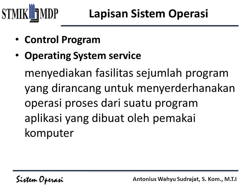 Sistem Operasi Antonius Wahyu Sudrajat, S. Kom., M.T.I Lapisan Sistem Operasi Control Program Operating System service menyediakan fasilitas sejumlah