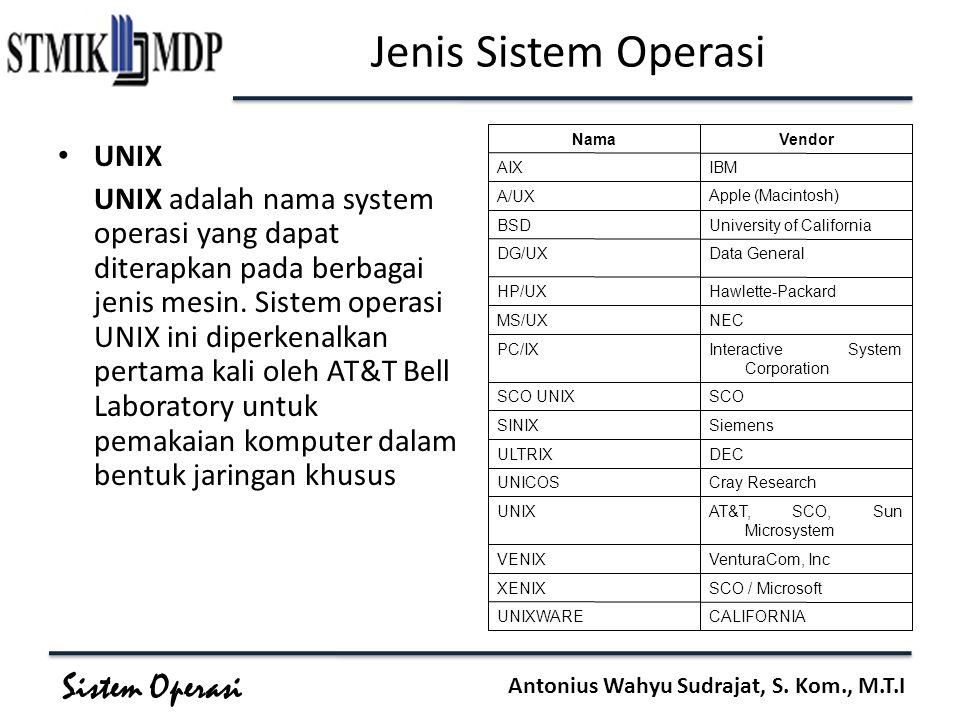 Sistem Operasi Antonius Wahyu Sudrajat, S. Kom., M.T.I Jenis Sistem Operasi UNIX UNIX adalah nama system operasi yang dapat diterapkan pada berbagai j
