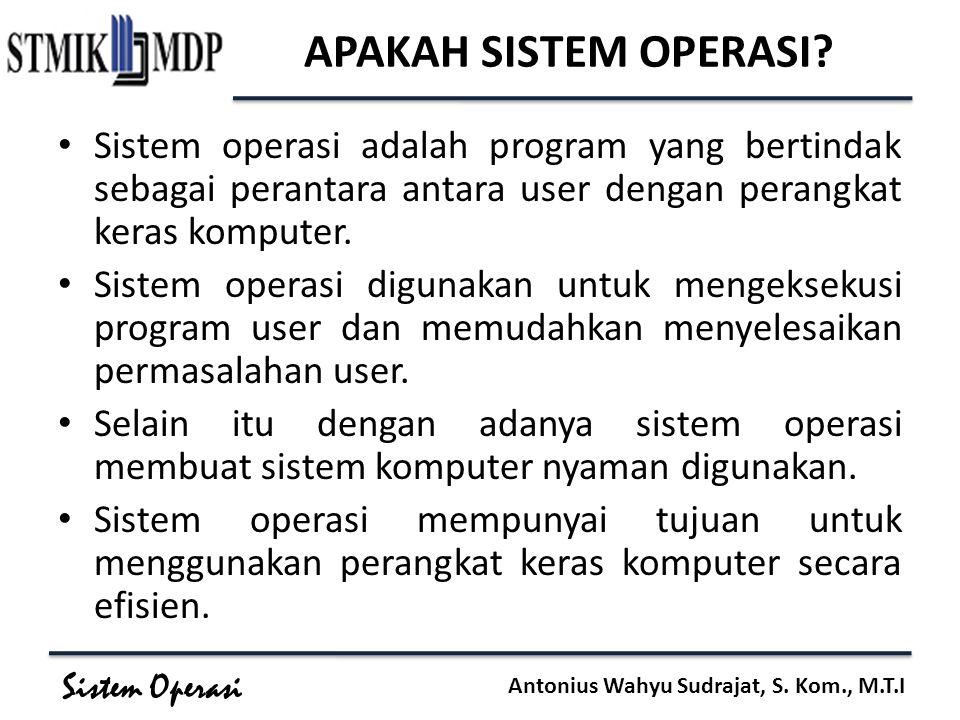 Sistem Operasi Antonius Wahyu Sudrajat, S. Kom., M.T.I APAKAH SISTEM OPERASI? Sistem operasi adalah program yang bertindak sebagai perantara antara us