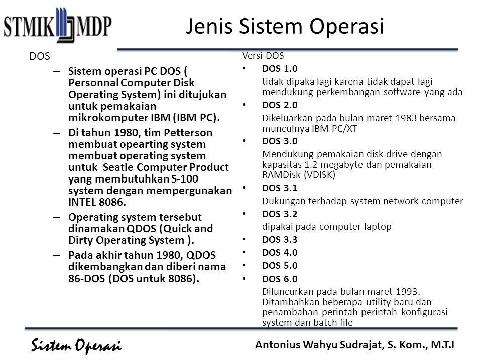 Sistem Operasi Antonius Wahyu Sudrajat, S. Kom., M.T.I Jenis Sistem Operasi DOS – Sistem operasi PC DOS ( Personnal Computer Disk Operating System) in