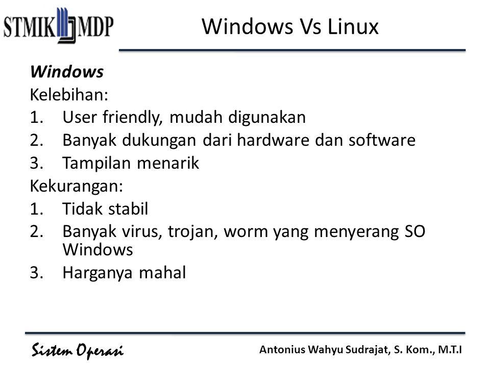 Sistem Operasi Antonius Wahyu Sudrajat, S. Kom., M.T.I Windows Vs Linux Windows Kelebihan: 1.User friendly, mudah digunakan 2.Banyak dukungan dari har