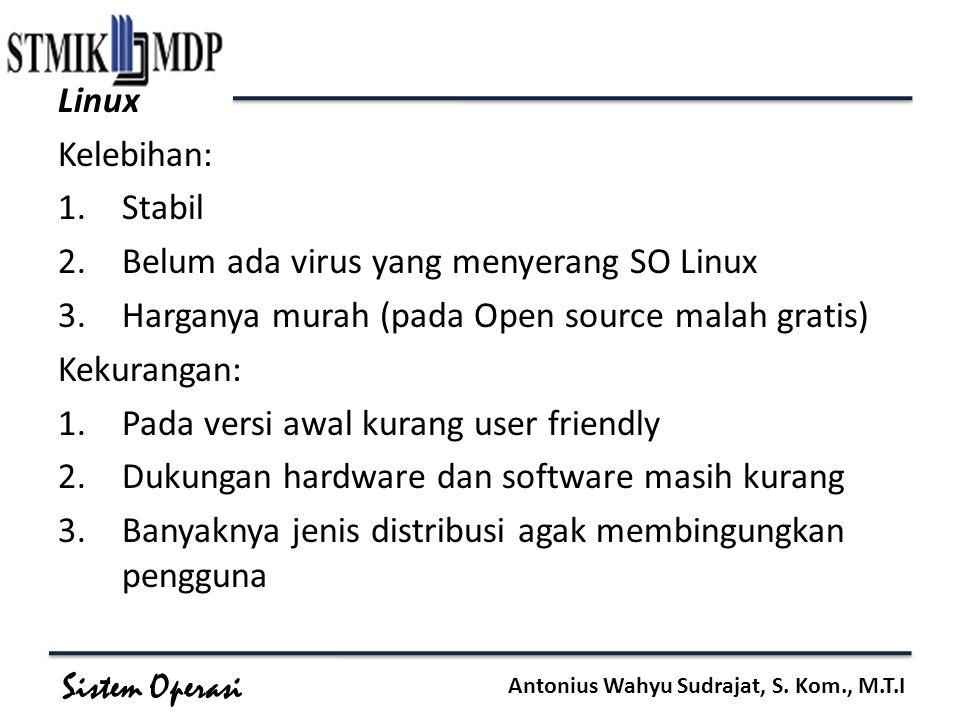 Sistem Operasi Antonius Wahyu Sudrajat, S. Kom., M.T.I Linux Kelebihan: 1.Stabil 2.Belum ada virus yang menyerang SO Linux 3.Harganya murah (pada Open