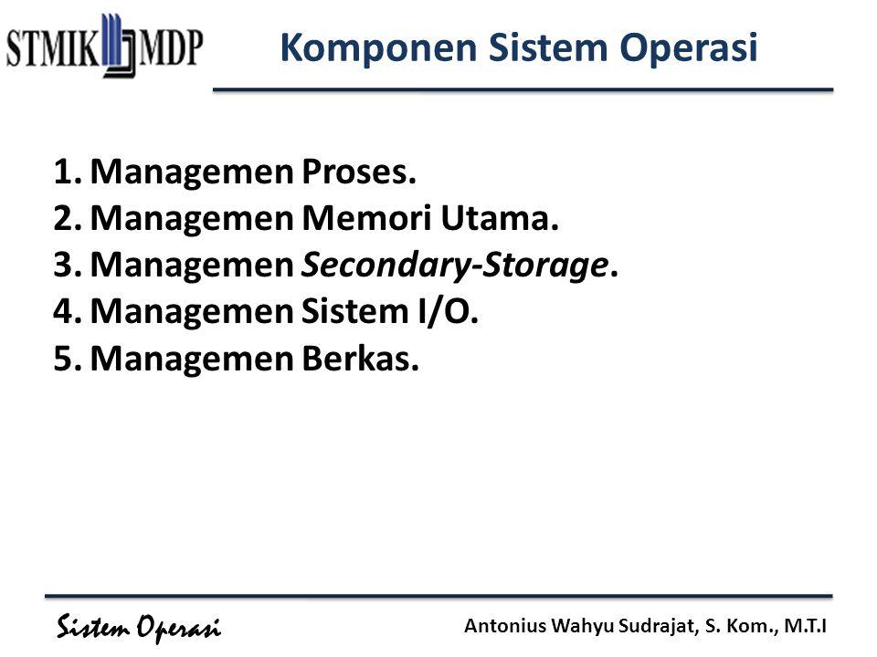 Sistem Operasi Antonius Wahyu Sudrajat, S. Kom., M.T.I Komponen Sistem Operasi 1.Managemen Proses. 2.Managemen Memori Utama. 3.Managemen Secondary-Sto