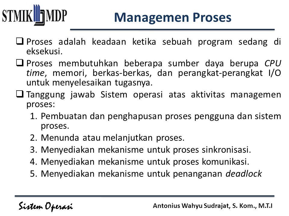 Sistem Operasi Antonius Wahyu Sudrajat, S. Kom., M.T.I Managemen Proses  Proses adalah keadaan ketika sebuah program sedang di eksekusi.  Proses mem