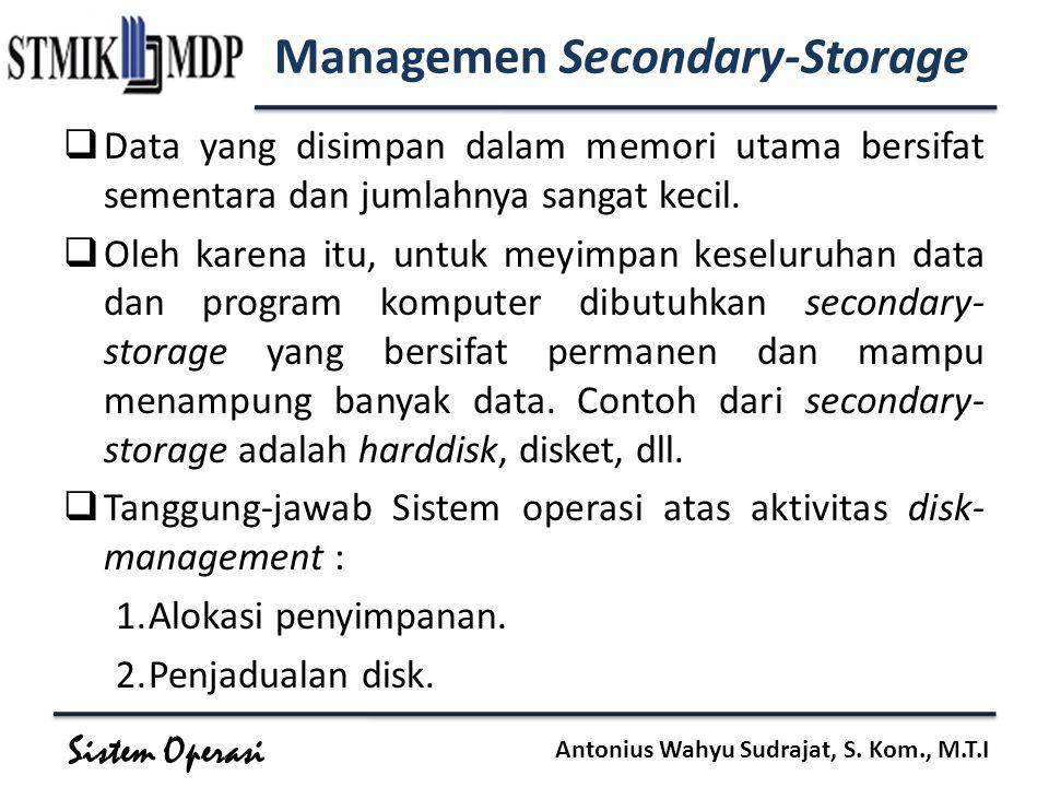 Sistem Operasi Antonius Wahyu Sudrajat, S. Kom., M.T.I Managemen Secondary-Storage  Data yang disimpan dalam memori utama bersifat sementara dan juml