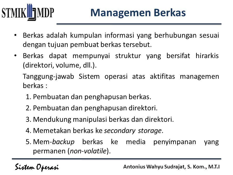 Sistem Operasi Antonius Wahyu Sudrajat, S. Kom., M.T.I Managemen Berkas Berkas adalah kumpulan informasi yang berhubungan sesuai dengan tujuan pembuat