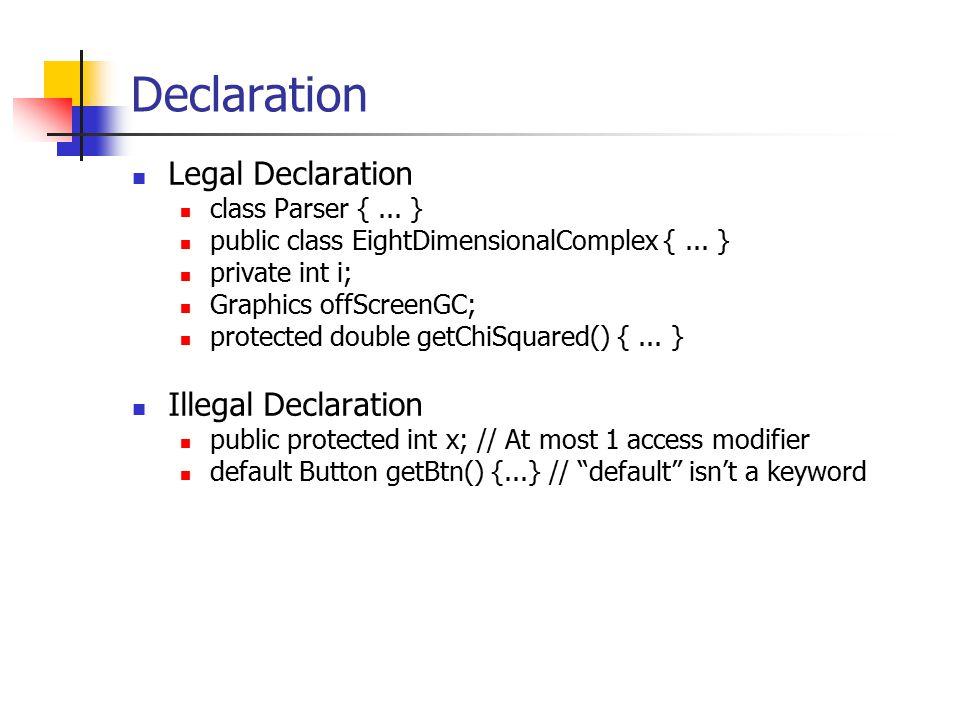 Declaration Legal Declaration class Parser {... } public class EightDimensionalComplex {...