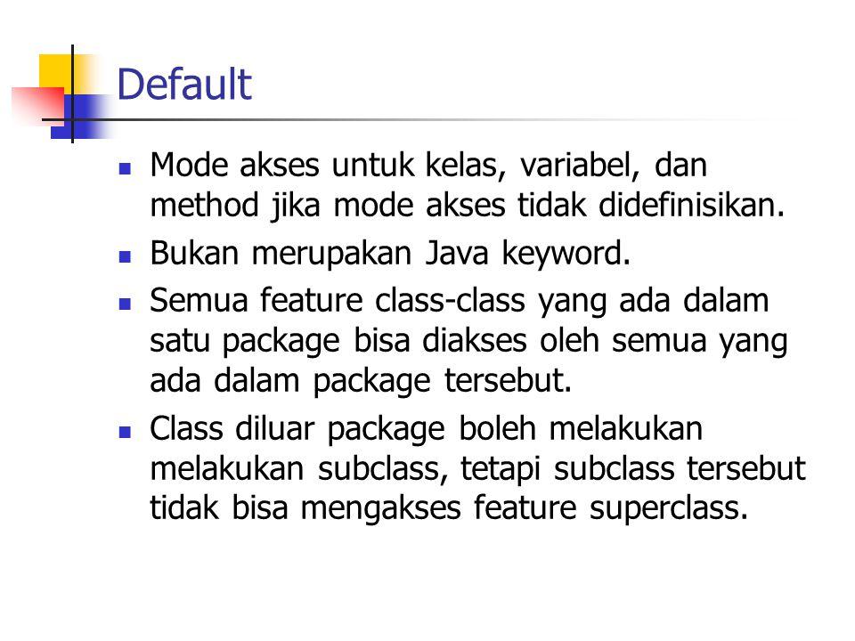 Default Mode akses untuk kelas, variabel, dan method jika mode akses tidak didefinisikan.