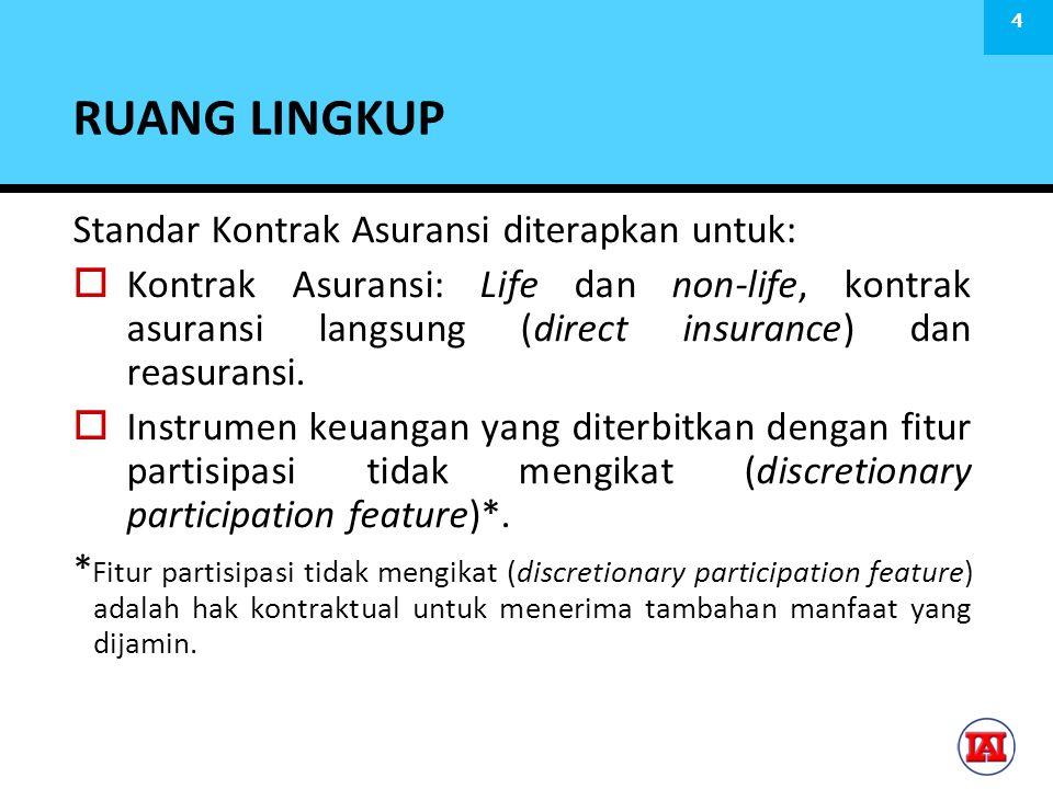 RUANG LINGKUP Standar Kontrak Asuransi diterapkan untuk:  Kontrak Asuransi: Life dan non-life, kontrak asuransi langsung (direct insurance) dan reasuransi.