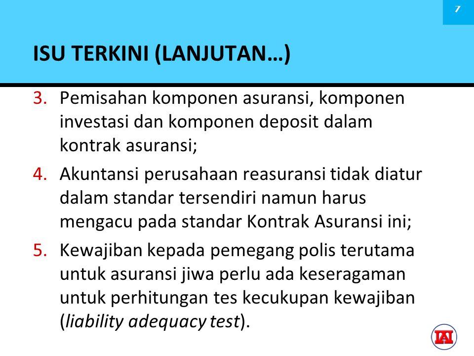 PEMISAHAN KOMPONEN ASURANSI, KOMPONEN DEPOSIT & KOMPONEN INVESTASI  Penilaian kontrak asuransi harus mampu memisahkan: (i) risiko asuransi signifikan (ii) Komponen deposit (iii) komponen investasi.