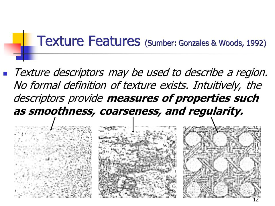 12 Texture Features (Sumber: Gonzales & Woods, 1992) Texture descriptors may be used to describe a region. No formal definition of texture exists. Int