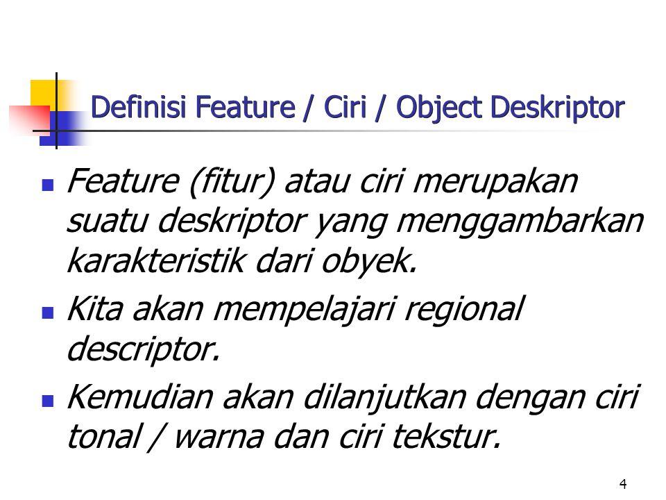 4 Definisi Feature / Ciri / Object Deskriptor Feature (fitur) atau ciri merupakan suatu deskriptor yang menggambarkan karakteristik dari obyek.