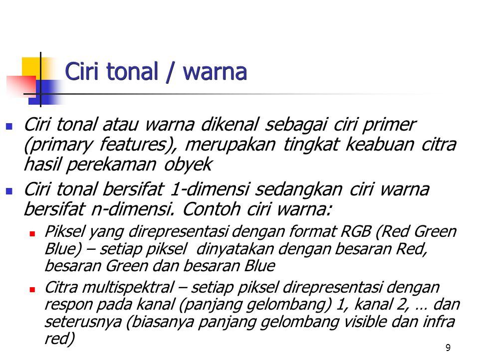 9 Ciri tonal / warna Ciri tonal atau warna dikenal sebagai ciri primer (primary features), merupakan tingkat keabuan citra hasil perekaman obyek Ciri tonal bersifat 1-dimensi sedangkan ciri warna bersifat n-dimensi.