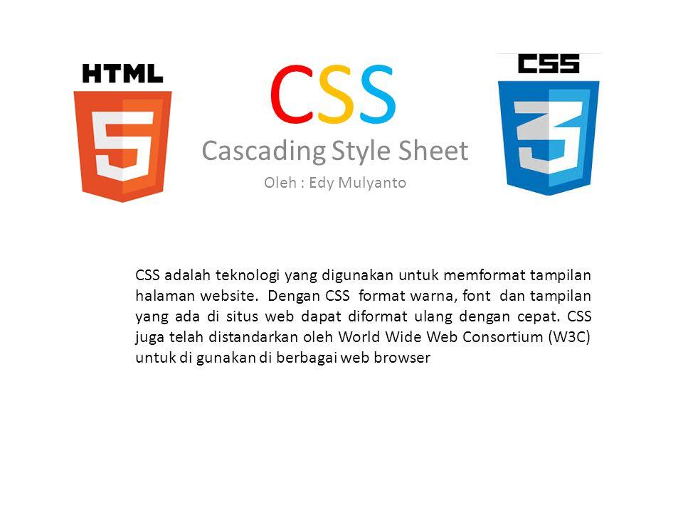 Cara menggunakan CSS Ada 3 cara menggunakan CSS : Inline Style sheet Internal Style Sheet External Style Sheet