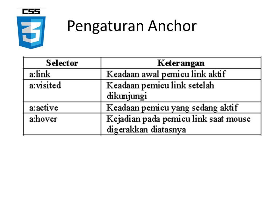 Pengaturan Anchor