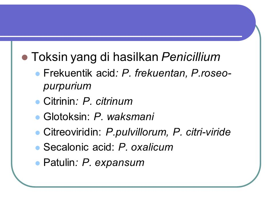 Toksin yang di hasilkan Penicillium Frekuentik acid: P. frekuentan, P.roseo- purpurium Citrinin: P. citrinum Glotoksin: P. waksmani Citreoviridin: P.p