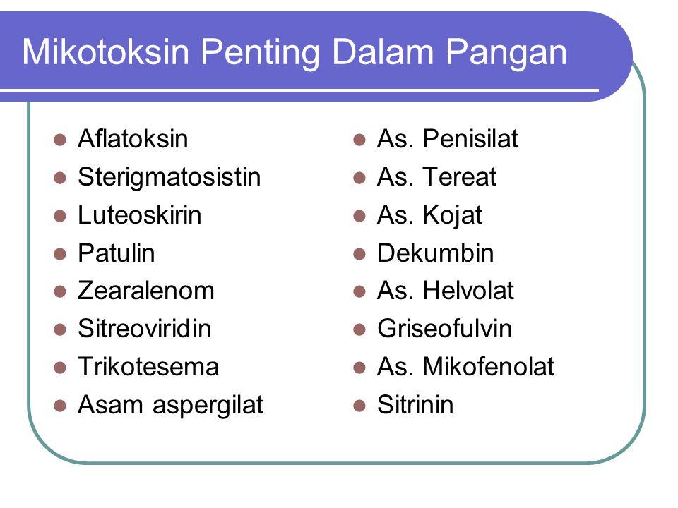 Mikotoksin Penting Dalam Pangan Aflatoksin Sterigmatosistin Luteoskirin Patulin Zearalenom Sitreoviridin Trikotesema Asam aspergilat As. Penisilat As.