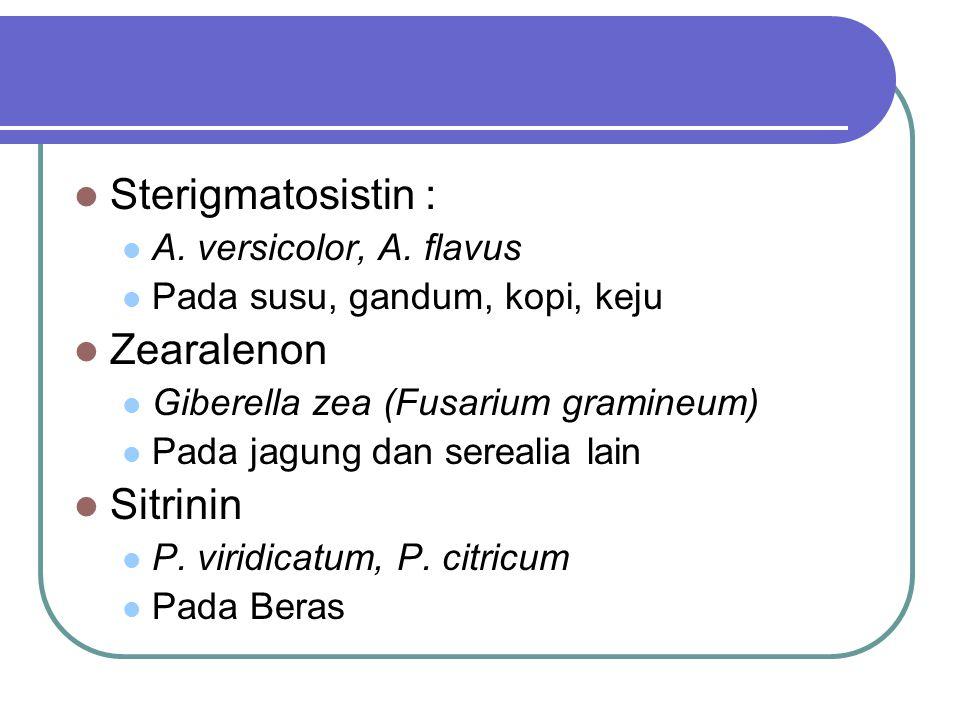 Sterigmatosistin : A. versicolor, A. flavus Pada susu, gandum, kopi, keju Zearalenon Giberella zea (Fusarium gramineum) Pada jagung dan serealia lain